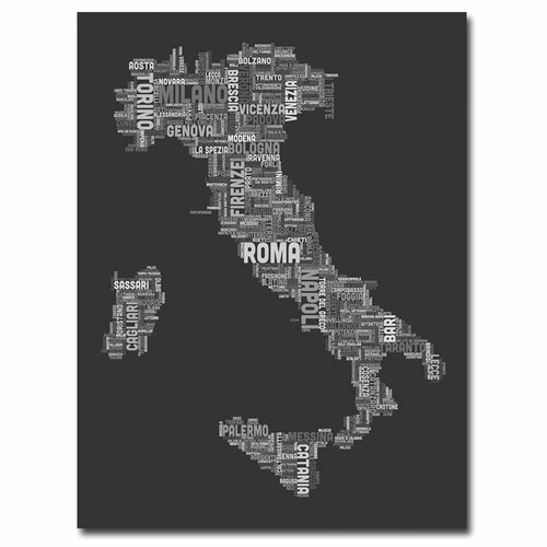 Trademark Fine Art Italy V by Michael Tompsett Textual Art on Canvas in Charcoal