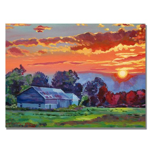 'The Sun Sets Over The Hill' by David Lloyd Glover Painting Print on Canvas