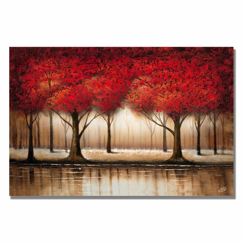 """Trademark Fine Art """"Parade of Red Trees"""" by Rio Painting Print on Canvas"""