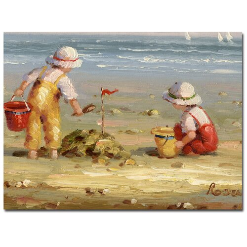 Trademark Fine Art 'Rosa At the Beach' by Rio Painting Print on Canvas