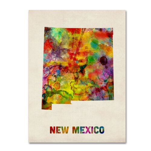 'New Mexico Map' by Michael Tompsett Graphic Art on Canvas