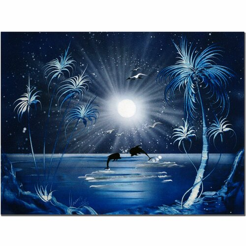 'Dolphins at Night' by Conrad Painting Print on Canvas