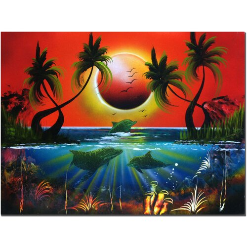 'Dolphins at Sunset' by Conrad Painting Print on Canvas