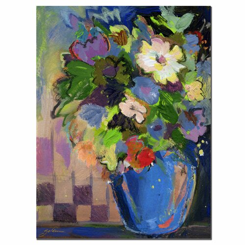 'Cobalt Vase with Purple' by Sheila Golden Painting Print on Canvas