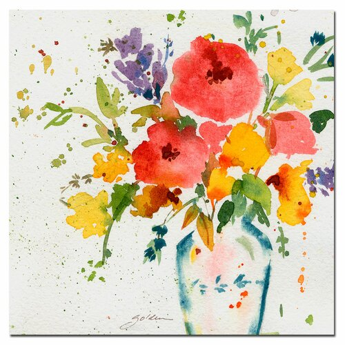 Black Flower Watercolor Art By Tae Lee: Trademark Art 'White Vase With Bright Flowers' By Sheila