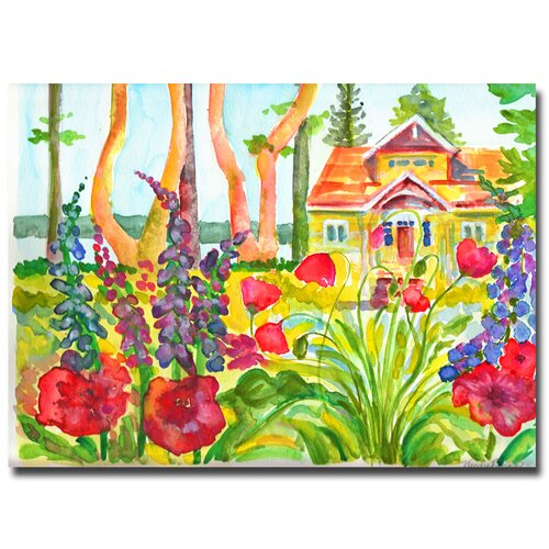 'Cottage Garden' by Wendra Painting Print on Canvas