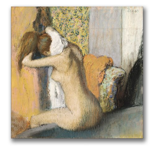"Trademark Fine Art ""After the Bath, Woman Drying Neck"" by Edgar Degas Painting Print on Canvas"
