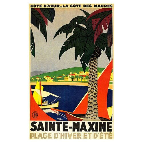 Trademark Fine Art 'Sainte Maxime' by Roger Broders Vintage Advertisment on Canvas