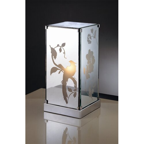"""Laura Ashley Home Carin Mirrored 11"""" H Table Lamp with Square Shade"""