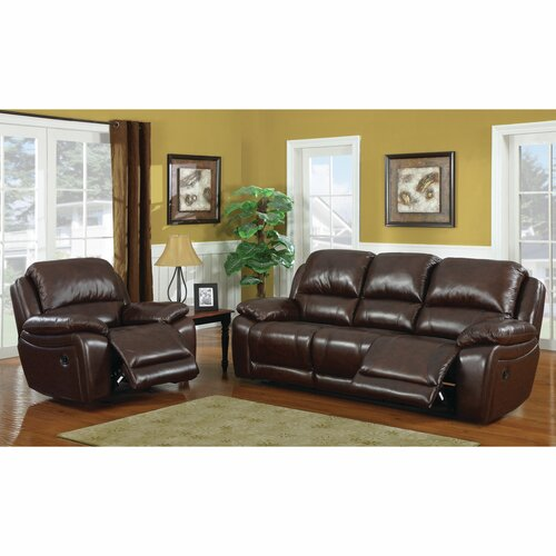 2 Piece Leather Motion Sofa Set