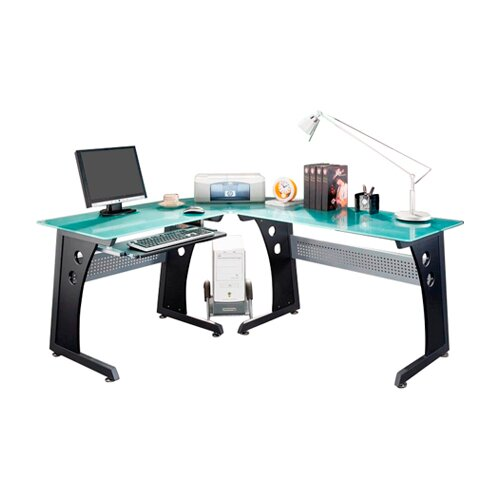 Techni Mobili Graphite & Frosted Glass L-Shaped Computer Desk with PC Caddy