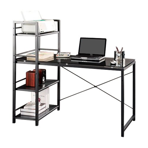 Techni Mobili Glass Top Computer Desk with 4 Shelf Metal Bookcase