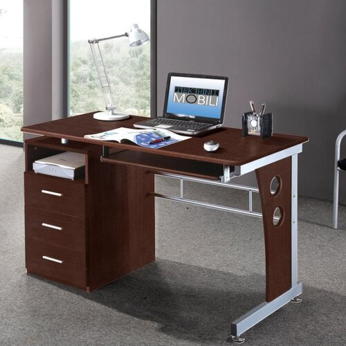 Techni Mobili Computer Desk with Side Cabinet