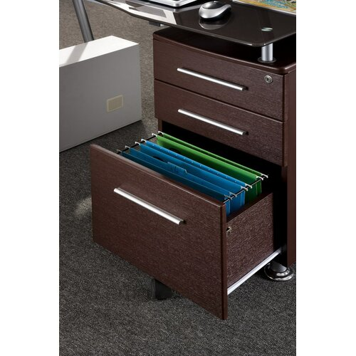 Techni Mobili Writing Desk with Side Cabinet