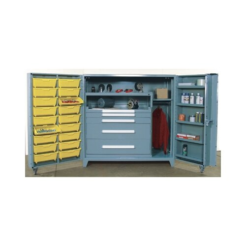 """Lyon Workspace Products 60"""" Wide Cabinet w/ 45"""" W Modular Drawers and  Adjustable Shelves"""