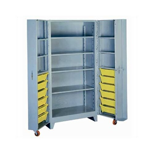 "Lyon Workspace Products Deep Door 4 Shelf, 12 Bin Cabinet: 76"" H x 38"" W x 28"" D"