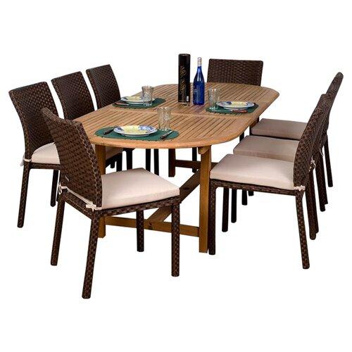 International Home Miami Amazonia Alexandria 9-Piece Teak/Wicker Dining Set