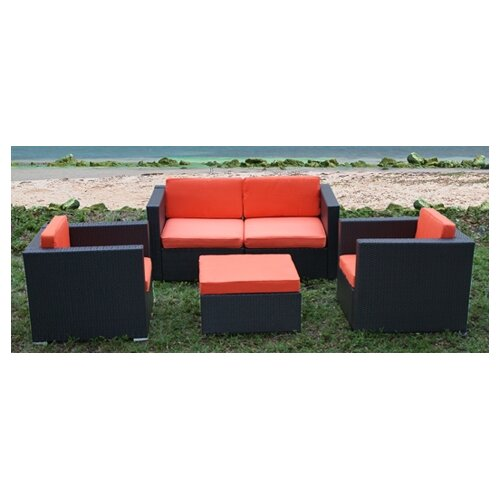 International Home Miami St. Tropez 5 Piece Deep Seating Group with Cushions