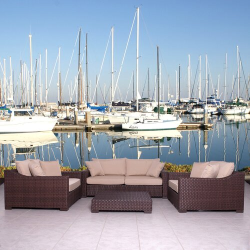 International Home Miami Kingston 4 Piece Deep Seating Group with Cushions
