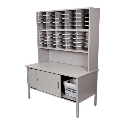 Marvel Office Furniture 50 Adjustable Slot Literature Organizer with Riser and Cabinet