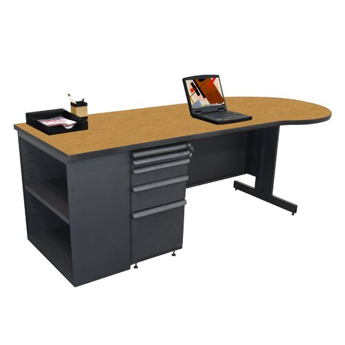 Marvel Office Furniture Zapf Teachers Executive Desk with Bookcase