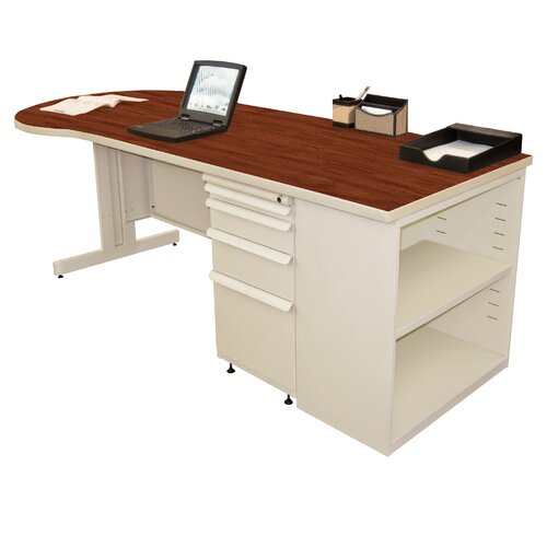 "Marvel Office Furniture Teachers 87"" Conference Desk with Bookcase"