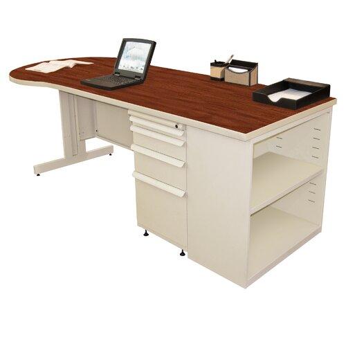 Marvel Office Furniture Zapf Teachers Computer Desk with Bookcase