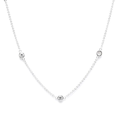 Sterling Silver Cubic Zirconia Station Necklace