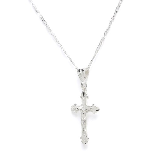 Sterling Essentials Sterling Silver Diamond-cut Crucifix Necklace