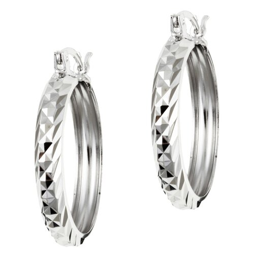 Sterling Essentials Platifina Platinum Plated Sterling Silver 1 inches Swiss-Cut Hoop Earring