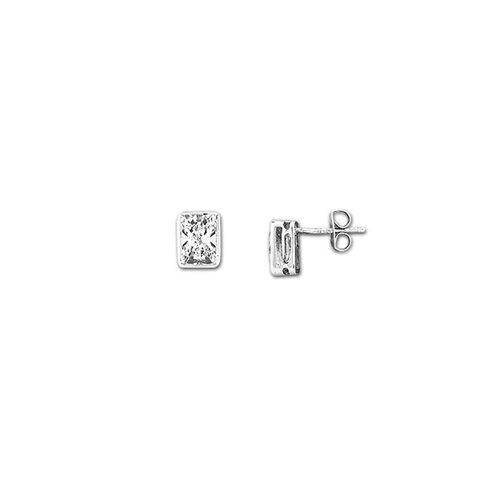 Sterling Essentials Sterling Silver Emerald-cut Cubic Zirconia Studs