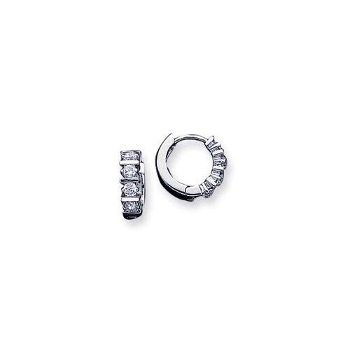 Sterling Essentials Sterling Silver CZ Mini-Hoop Earring