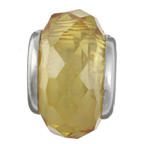 Sterling Essentials Signature Moments Sterling Silver Faceted Cubic Zirconia Bead in Yellow