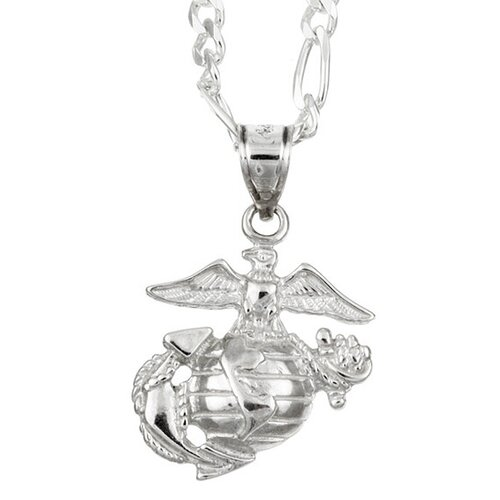 Sterling Silver 22 inches Wounded Warrior Project Marine Corps Necklace