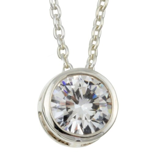 Sterling Essentials Sterling Silver Cubic Zirconia Solitaire Necklace