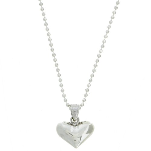 Sterling Silver 16 inches Polished Heart Necklace