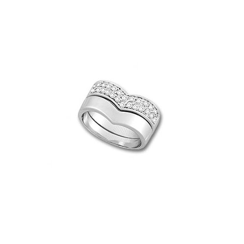Sterling Silver Cubic Zirconia 2-Pieces Cheveron Stackable Ring