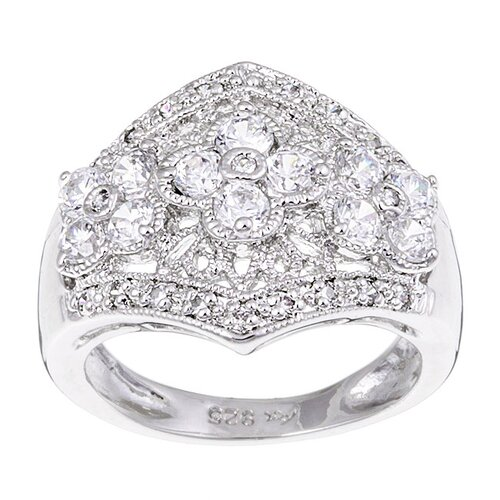 Sterling 35 Prong Silver Cubic Zirconia Flower Ring