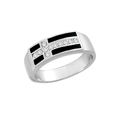 Sterling Silver Cubic Zirconia and Black Onyx Cross Ring