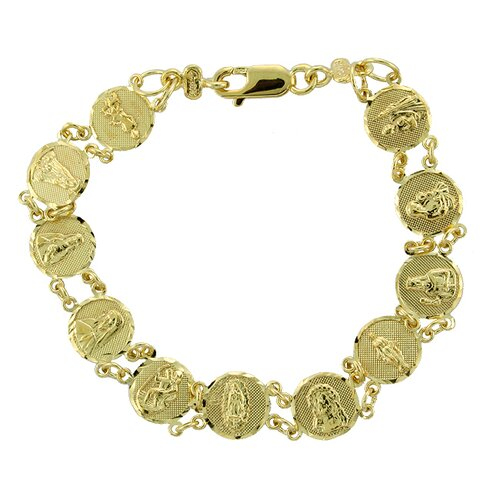 Sterling Essentials 14k Gold over Silver 6.5 inches Child's Saints Medal Bracelet