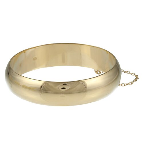 14k Gold over Silver 15mm Polished Bangle Bracelet