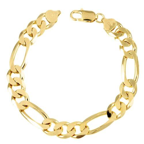 Sterling Essentials 14k Gold over Silver 9.5mm Figaro Bracelet