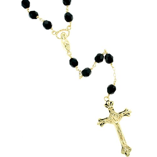 Sterling Essentials 14k Gold over Silver Black Czech Glass Rosary Necklace