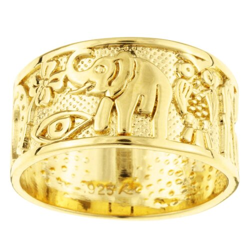 Sterling Essentials 14k Gold over Silver Good Luck Band