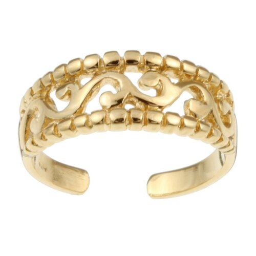 Sterling Essentials 14k Gold over Sterling Silver Filigree Adjustable Toe Ring