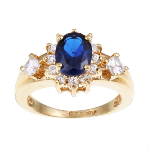 Sterling Essentials 14k Gold over Silver Blue Sapphire and Cubic Zirconia Ring