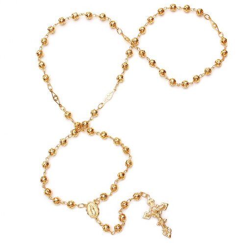 Sterling Essentials Gold Plated Bronze Cut-Out Beaded Rosary Necklace