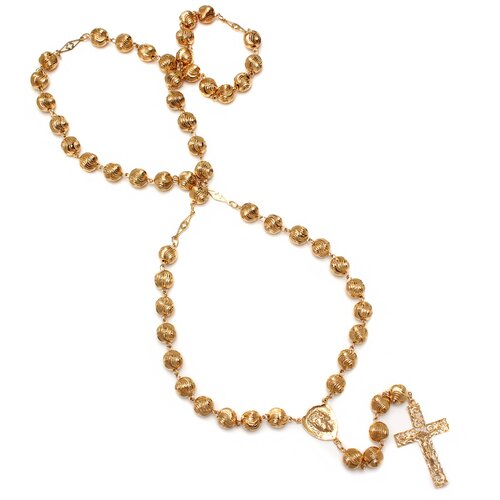 Gold Plated Bronze Diamond-Cut Beaded Jesus Rosary Necklace
