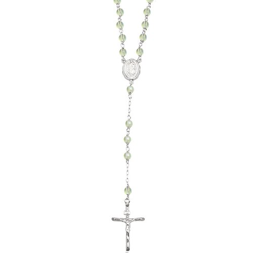 14k White Gold over Sterling Silver Rosary Czech Glass Bead Necklace