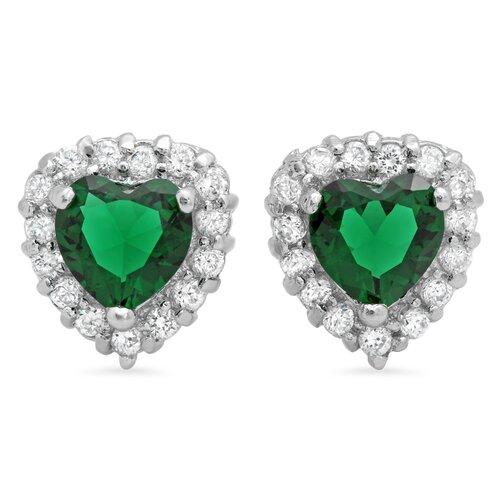 Heart Cut Cubic Zirconia Halo Stud Earrings